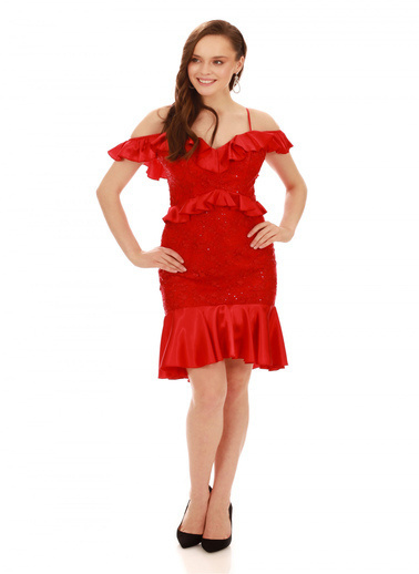 6ixty8ight Kırmızı Dantel Bel Yaka Fırfırlı Kısa Abiye Elbise Kırmızı